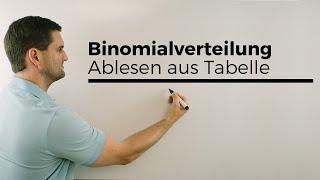 Binomialverteilung/Ablesen von der Tabelle, Stochastik | Mathe by Daniel Jung