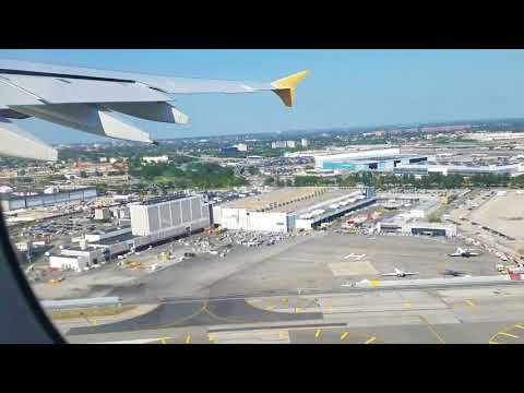 World's largest aircraft taking off from John F Kennedy Airport, New York