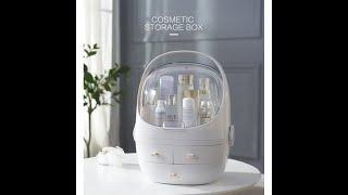 CapOjeyo Dust Away Big Capacity Handle Cosmetic Makeup Storage Box Organiserture