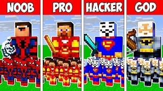 Minecraft Noob Vs Pro Vs Hacker Vs God Superhero Army Battle Adventure In Minecraft  Animation