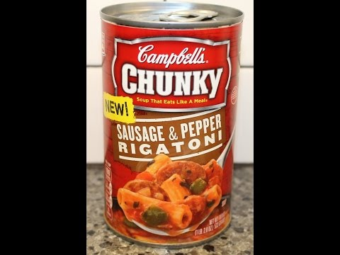 Campbell's Chunky Soup: Sausage & Pepper Rigatoni Review from YouTube · Duration:  3 minutes 45 seconds