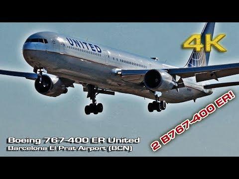 Boeing 767-400 ER United Airlines Barcelona [4K]