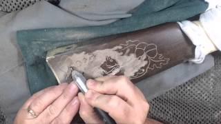 Gunstock Carving  Rabbit & Squirrel Golden Boy