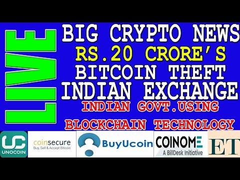 Big Crypto News Today   Govt.using blockchain   Unocoin   Buyucoin   Coinome   20 Cr.Bitcoin Stolen