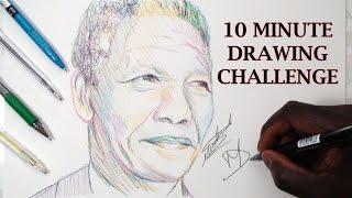 10 MINUTE DRAWING CHALLENGE - Drawing Nelson Mandela - DeMoose Art