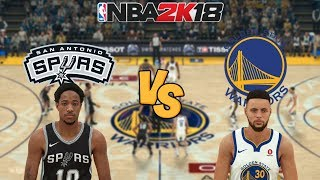 NBA 2K18  - San Antonio Spurs vs. Golden State Warriors -  Full Gameplay (Updated Rosters)