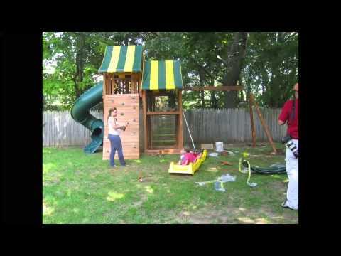 Eastern Jungle Gym Wooden Swing Set Installation. Best In Backyards