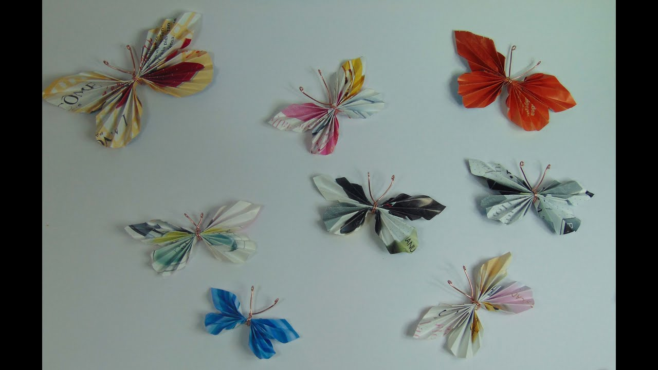 Hacer mariposas con papel de revista youtube - Manualidades con papel craft ...
