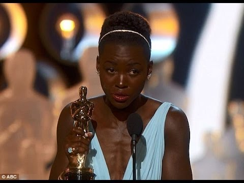 Lupita Nyong'o accepts her Best Supporting Actress Oscar