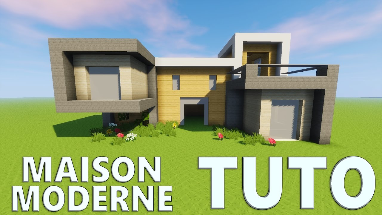 Tuto grande maison moderne minecraft youtube for Plan maison minecraft moderne