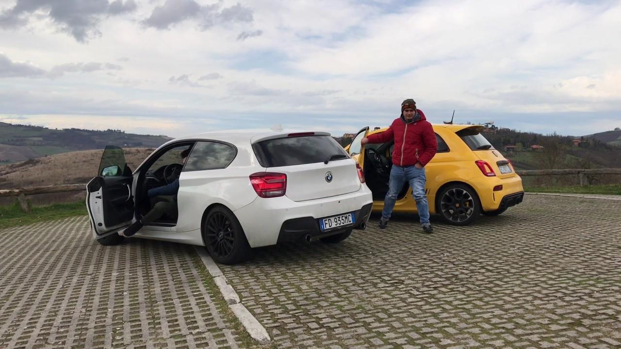 Abarth 595 vs BMW M135i sound check & flyby - YouTube