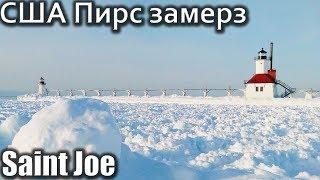 USA КИНО 1287. Озеро Мичиган после арктических морозов. Видеозарисовка