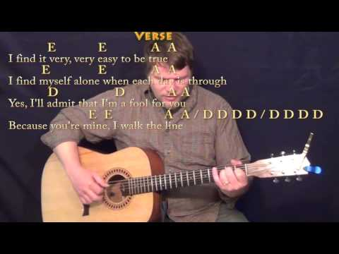 Walk the Line - Fingerstyle Guitar Cover Lesson with Lyrics/Chords