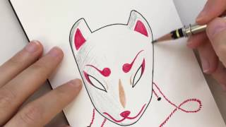 Drawing Japanese Mask Tattoo Sketch