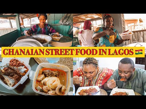 LOCAL GHANAIAN STREET FOOD IN LAGOS NIGERIA | FIRST TIME EATING GHANAIAN FOOD