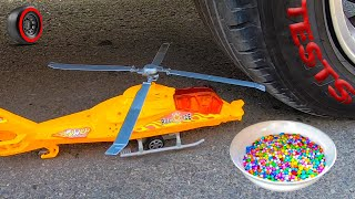 Crushing Crunchy & Soft Things by Car - EXPERIMENT: Helicopter and plate vs car