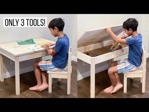 EASY DIY Kids Desk With Storage And Chair - Beginner-friendly 1-Day Project!
