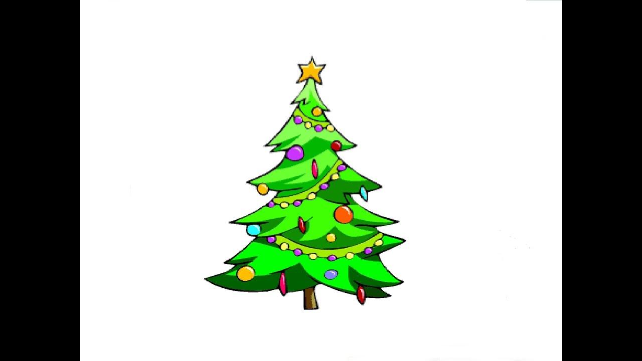 How to Draw a christmas tree / Как нарисовать новогоднюю ...
