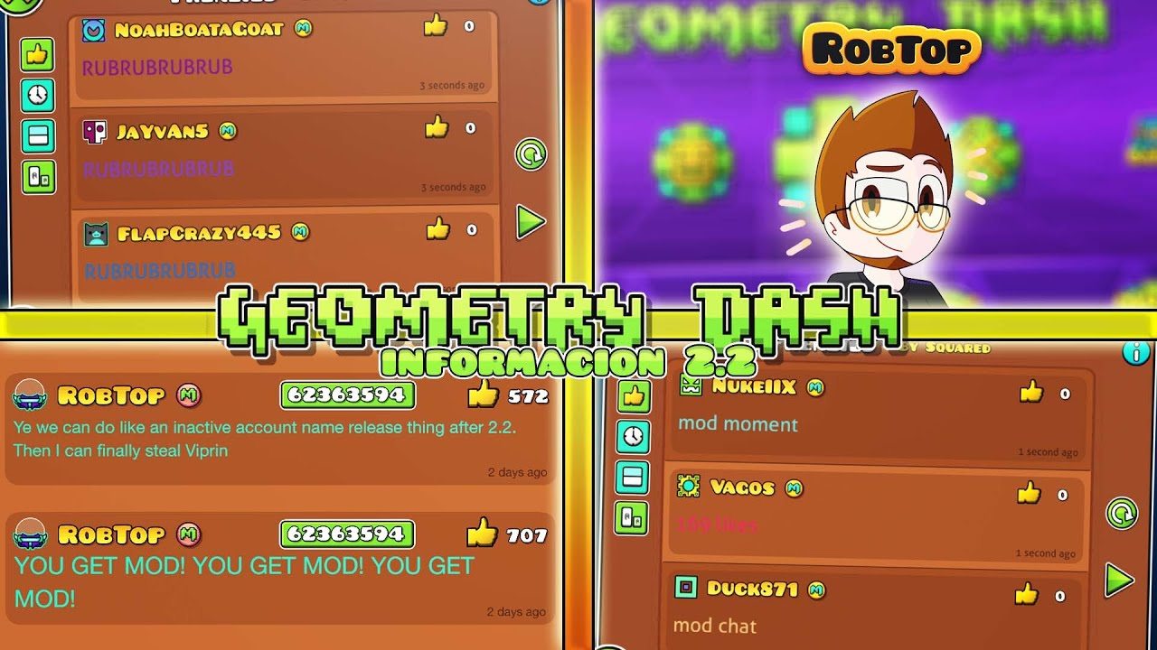 ¡RobTop Filtra Nuevas Funciones Para Moderadores En Geometry Dash 2.2 Y Mas Noticias!