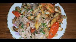 Жареная картошка с мясом Вкусный рецепт
