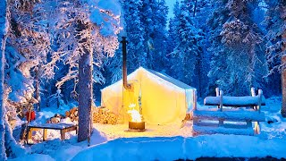 -31° WINTER CAMPING iฑ a GLOWING HOT TENT