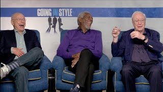 GOING IN STYLE interviews - Michael Caine, Morgan Freeman, Alan Arkin, Zach Braff, Ann-Margret