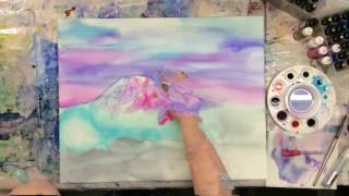 Super-fast time lapse of alcohol ink painting on canvas!
