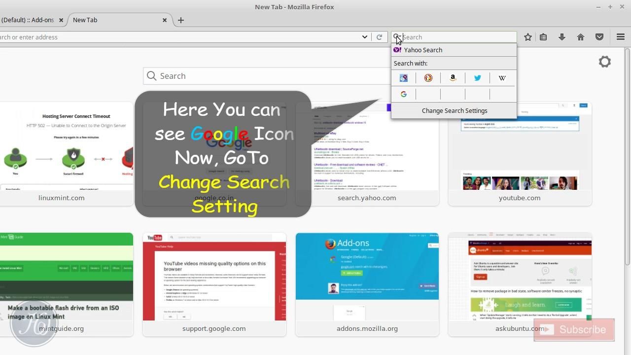 Add Google Default Search in Firefox (Linux Mint)