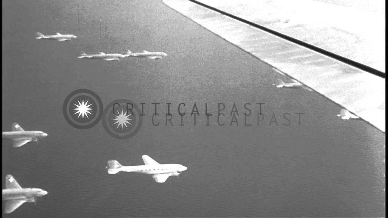 Us C 47 Aircraft Tow Gliders While In Flight Over Italy During World War Ii Hd Stock Footage