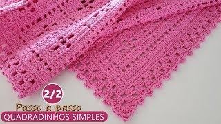 Tapete quadradinhos em crochê simples – Parte 2