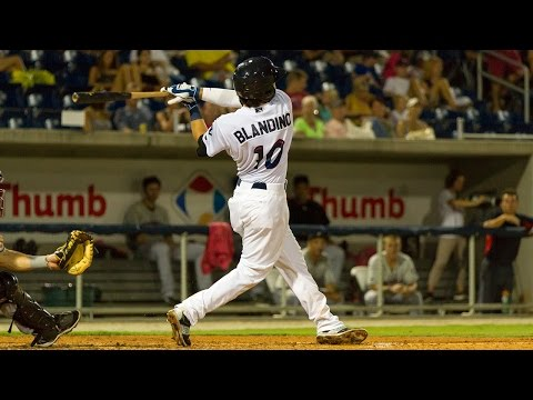 Alex Blandino hitting for the Pensacola Blue Wahoos