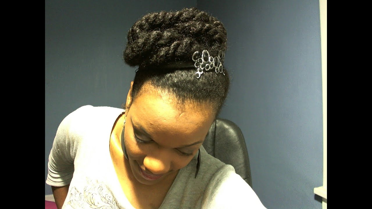 Natural Hairstyles Ponytails Natural Hairstyles Big Ponytail With Twist Feat Black Studded