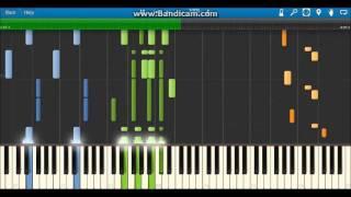 青+緑→ピアノ伴奏 オレンジ→メロディー(ノートが重ならないようにする...