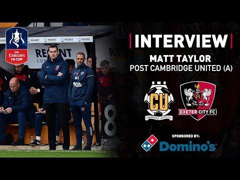 💬 Matt Taylor post Cambridge United 1 City 1 | Exeter City Football Club