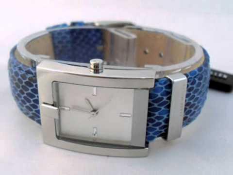 Ladies Blue Snakeskin Karen Millen Fashion Watch