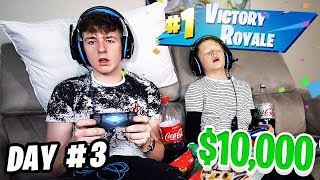 Last To Stop Playing Fortnite Wins $10,000 - Challenge vs LITTLE BROTHER!!