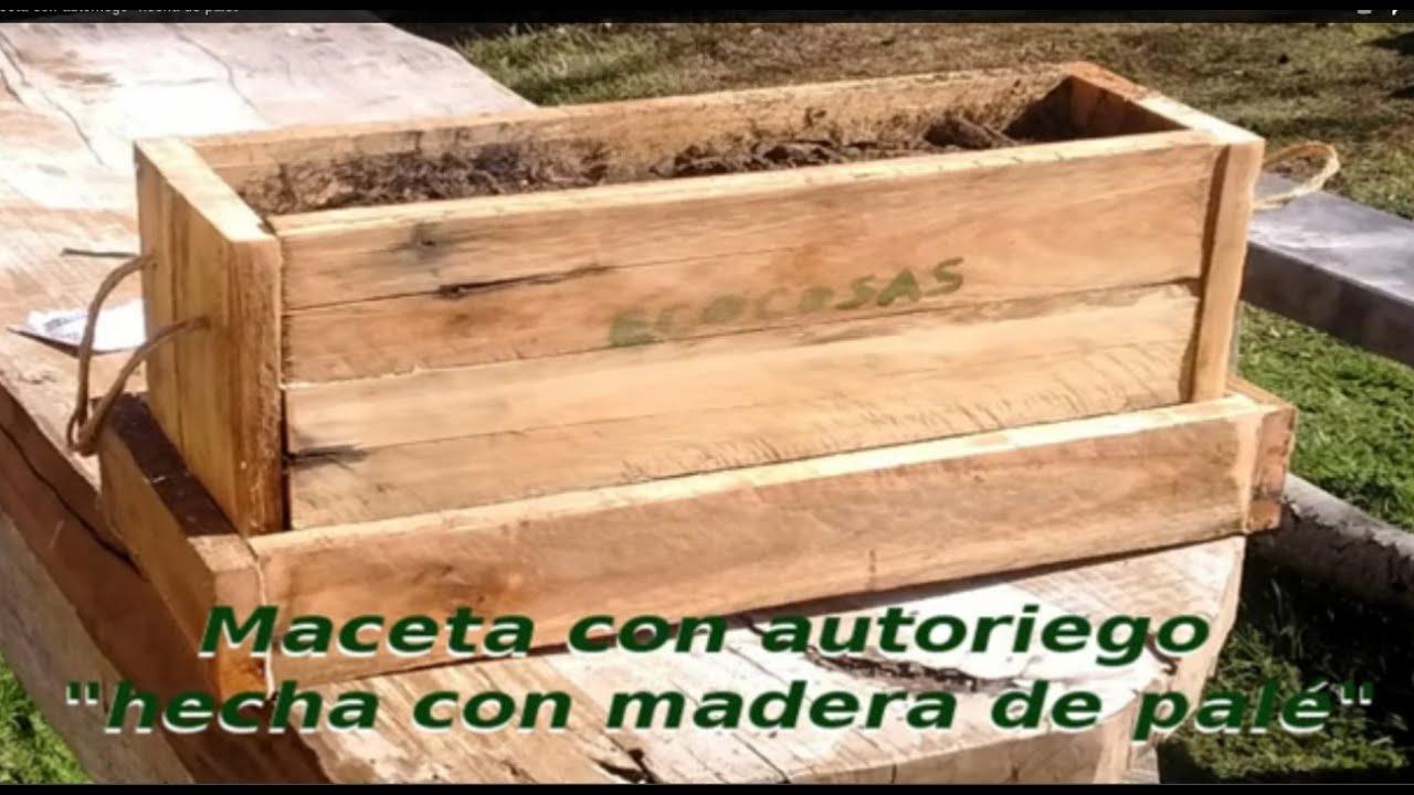 Maceta con autorriego hecha de palet youtube for Jardineras con palets de madera