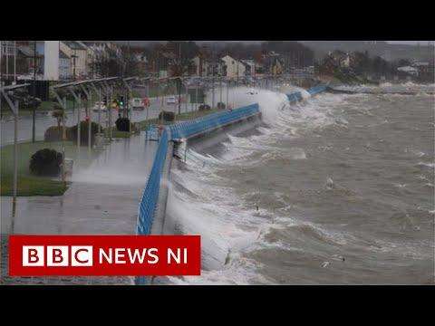 Storm Brendan Batters Ireland Coastline - BBC News NI
