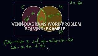 Venn diagrams word problem solving: Example 1