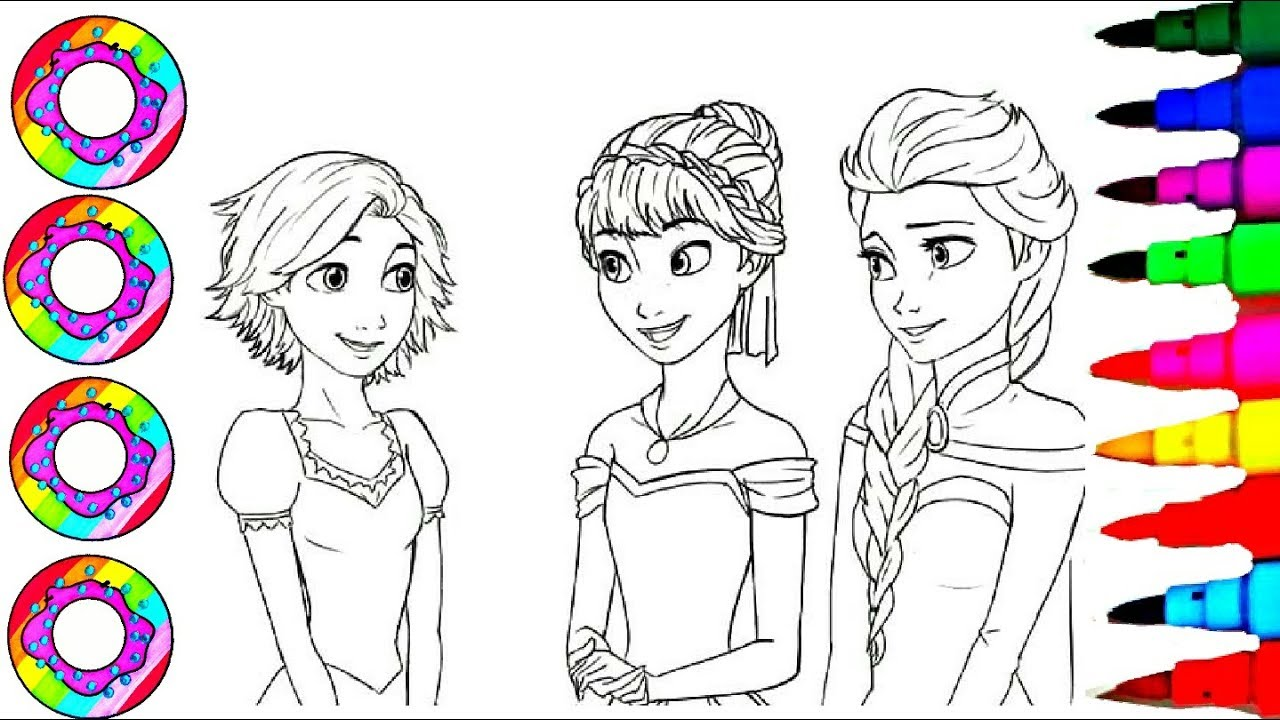 Super coloring l disneys princess tangled rapunzel frozen anna and elsa coloring pages for kids