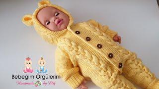 Kapşonlu Saç Örgülü Tulum Modeli ( Hooded baby overall knitting ) 1 Yaş (1 year)