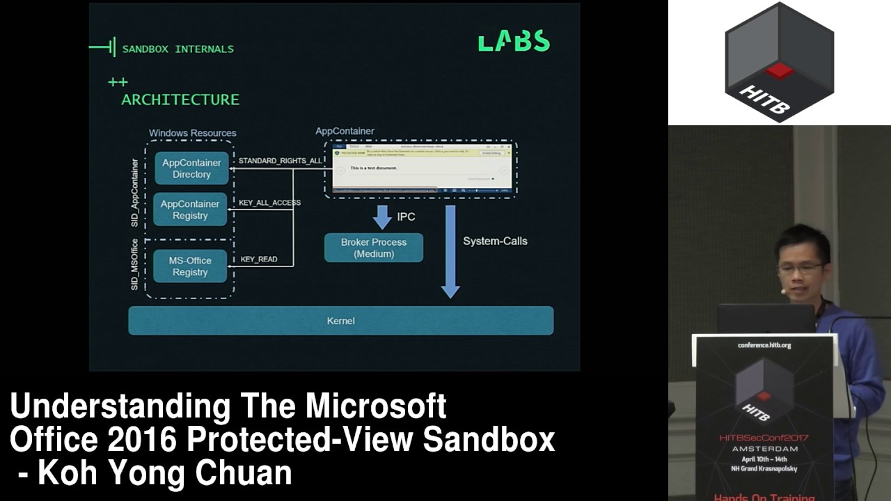 #HITB2017AMS COMMSEC D2 - The Microsoft Office 2016 Protected View Sandbox  - Koh Yong Chuan