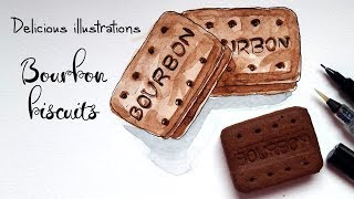 How to Draw and Paint a Bourbon Biscuit with Watercolor & Ink | Delicious Illustrations