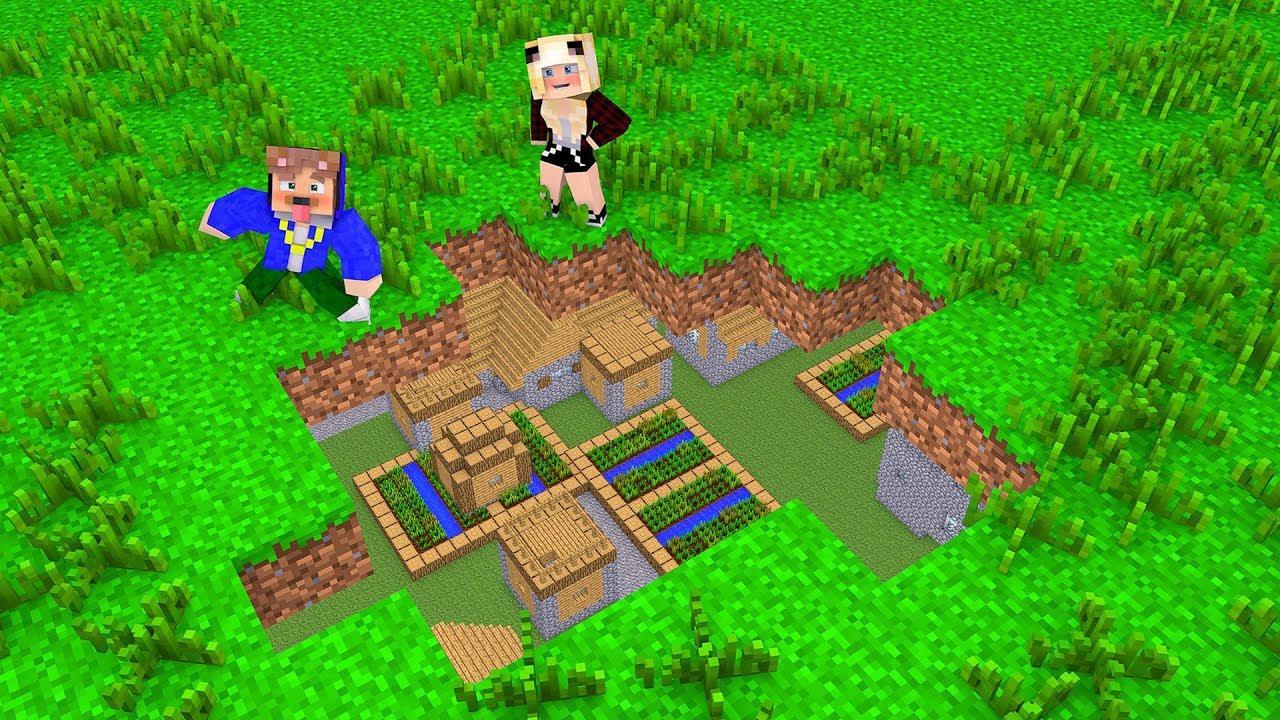 Wir Finden Ein Unterirdisches Dorf In Minecraft Youtube