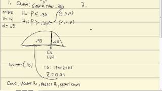 Elementary Statistics: Hypothesis Tests for a Population Proportion - Classical Approach (TI-83-84)