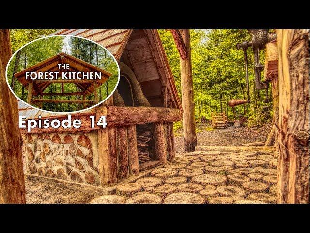 FREE Hardwood Floor for the Outdoor Kitchen   Off Grid Log Cabin   Forest Kitchen