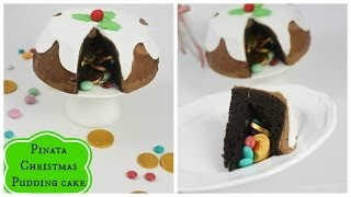 Chocolate Christmas Pudding Pinata Cake