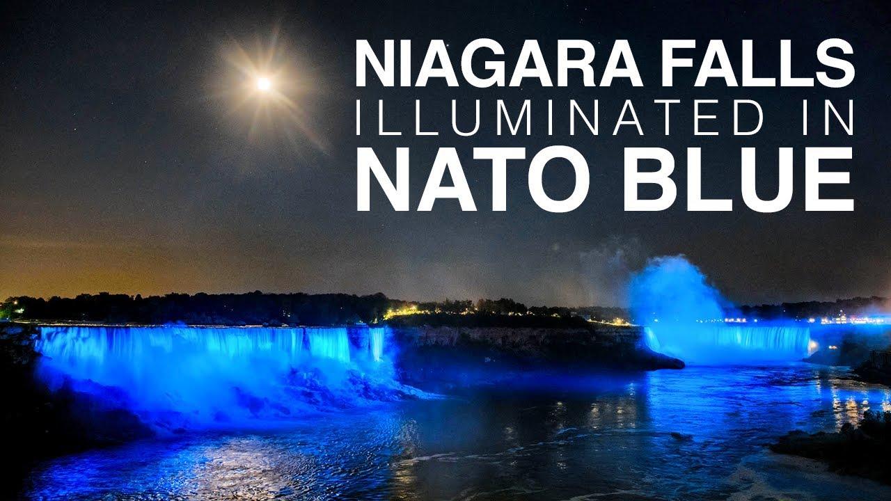 Niagara falls illuminated in NATO blue for Alliance's 70th anniversary