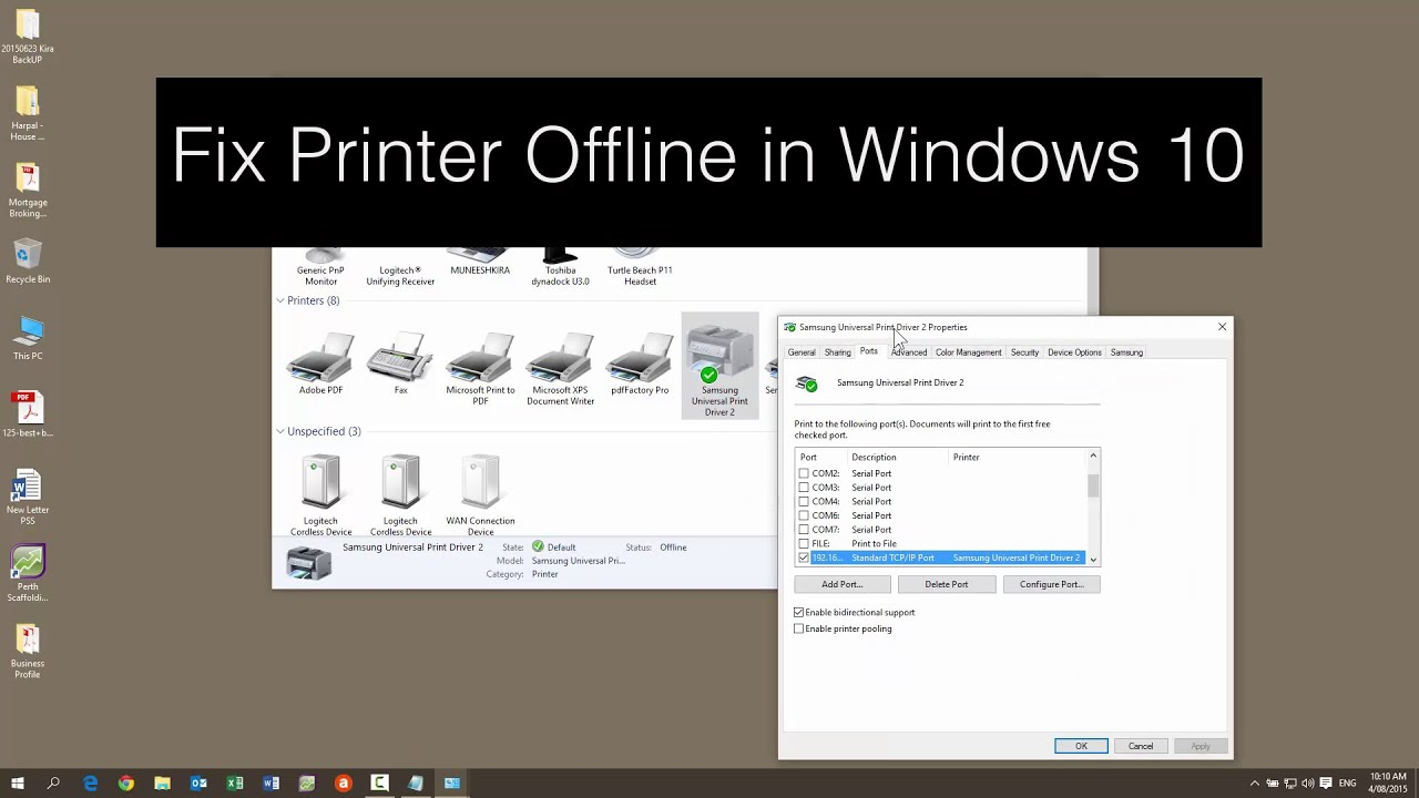 How To Fix Printer Offline In Windows 10 Or In Window 8