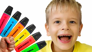 Dima pretends to play with his Magic Pen #2 - Preschool toddler learn color